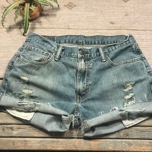 Levi's Distressed high rise jean shorts size 12
